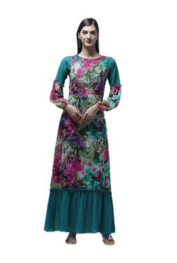 Athena Green Floral Print Maxi Dress