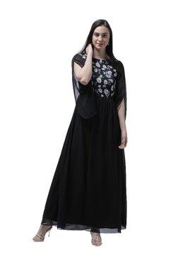 Athena Black Floral Print Maxi Dress