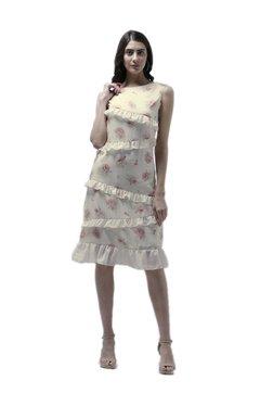 Athena Off White Floral Print Knee Length Ruffled Dress