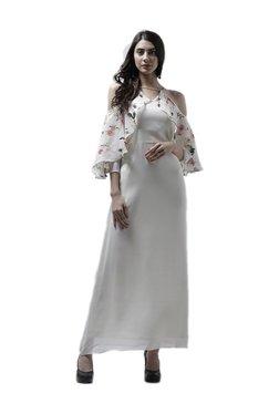 Athena Off White Printed Maxi Ruffled Dress