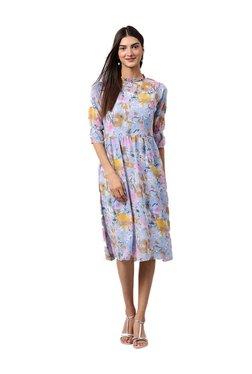 Athena Blue Floral Print Knee Length Dress
