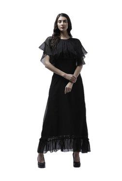 Athena Black Polyester Maxi Ruffled Dress