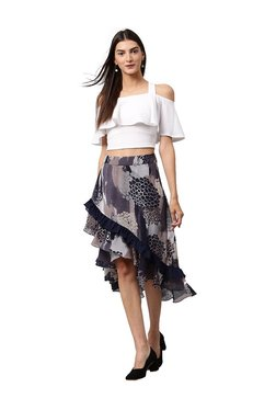 Athena Purple Printed Knee Length Skirt
