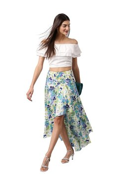 Athena White Printed Knee Length Skirt