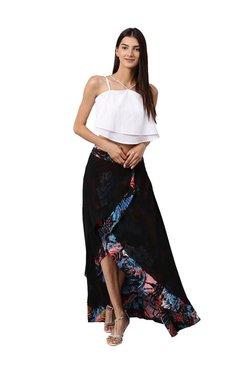 Athena Black Printed Knee Length Skirt