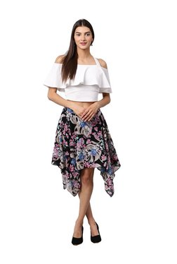 Athena Black Floral Print Knee Length Skirt