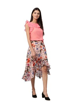 Athena Peach Floral Print Knee Length Skirt