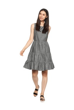 People Grey Textured Above Knee Cotton Dress