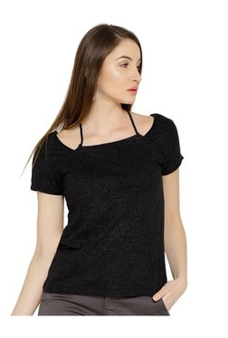 Cottonworld Black Self Print Top