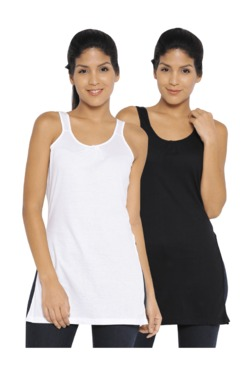 Red Rose Black & White Cotton Camisoles (Pack Of 2) - Mp000000003299403