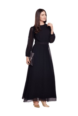 Athena Black Polyester Maxi Dress