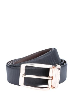 Louis Philippe Black Textured Leather Narrow Belt