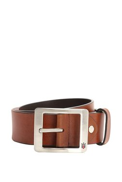 Louis Philippe Brown Solid Leather Narrow Belt - Mp000000003301519