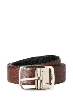 Peter England Black Solid Leather Reversible Belt