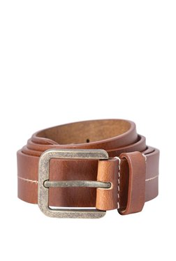 Allen Solly Brown Stitched Leather Narrow Belt - Mp000000003301537