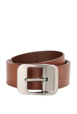 Van Heusen Brown Solid Leather Narrow Belt