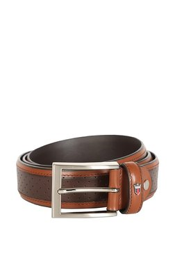 Louis Philippe Brown & Tan Perforated Leather Narrow Belt