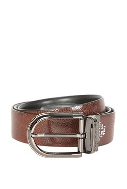 Louis Philippe Brown & Black Solid Leather Reversible Belt - Mp000000003302241
