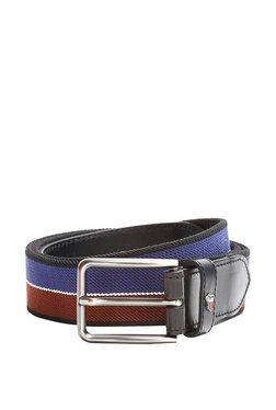 Louis Philippe Blue & Red Color Block Leather Narrow Belt