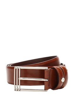 Van Heusen Brown Solid Leather Narrow Belt - Mp000000003302244