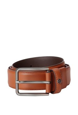 Louis Philippe Tan Solid Leather Narrow Belt