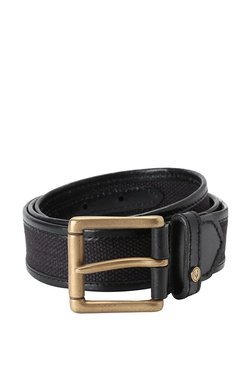 Allen Solly Black Woven Leather Narrow Belt