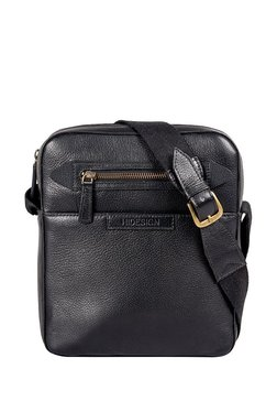 Hidesign Mackenzie 02 Black Solid Leather Sling Bag