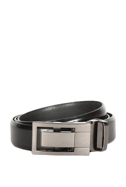 Van Heusen Black Solid Leather Narrow Belt