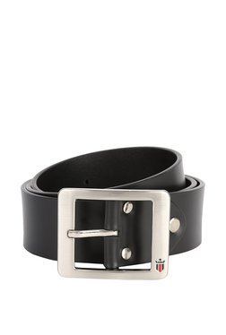 Louis Philippe Black Solid Leather Narrow Belt