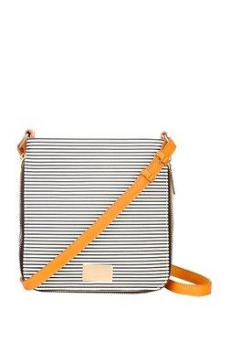 Satya Paul Black & White Striped Sling Bag