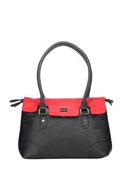 Satya Paul Black & Red Solid Shoulder Bag