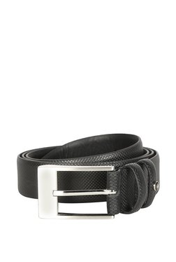 Louis Philippe Black Textured Leather Narrow Belt - Mp000000003303906
