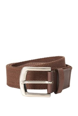 Louis Philippe Brown Woven Leather Narrow Belt