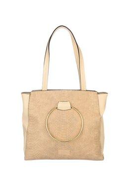 Satya Paul Beige Textured Shoulder Bag