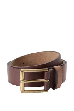 Allen Solly Brown Stitched Leather Narrow Belt