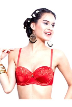 Enamor Red Lace Under Wired Padded Balconette Bra