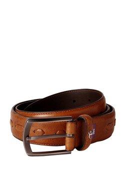 Louis Philippe Brown Interlaced Leather Narrow Belt