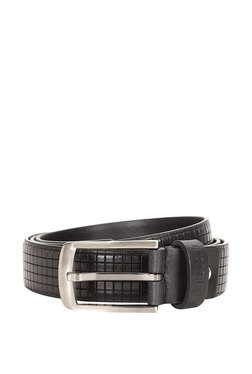 Van Heusen Black Textured Leather Narrow Belt