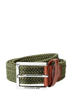 Peter England Green Interlaced Leather Narrow Belt