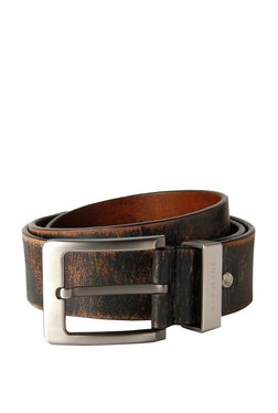 Louis Philippe Black & Tan Distressed Leather Narrow Belt
