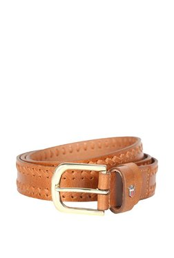 Louis Philippe Tan Interlaced Leather Narrow Belt