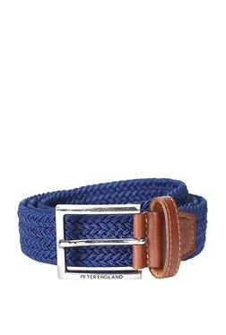 Peter England Blue Interlaced Leather Narrow Belt