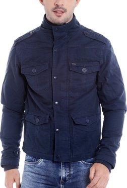 Killer Navy Full Sleeves Cotton High Neck Jacket