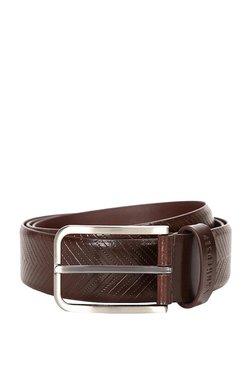 Van Heusen Brown Textured Leather Narrow Belt
