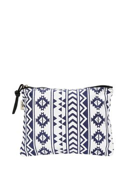 People Blue & White Printed Pouch
