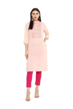 Juniper Peach Embroidered Cotton Kurta