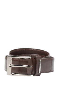 Allen Solly Chocolate Brown Solid Leather Narrow Belt