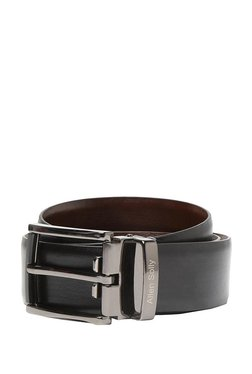 Allen Solly Black Solid Leather Narrow Belt - Mp000000003309821