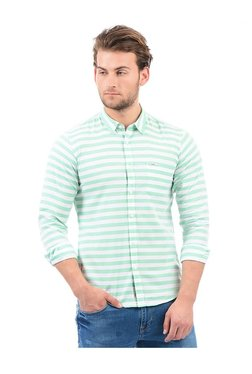 Pepe Jeans Mint & White Slim Fit Striped Cotton Shirt