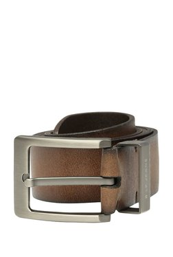 Louis Philippe Brown Solid Leather Narrow Belt